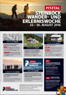 """Brochure """"Pitztal Steinbock Wander- und Erlebniswoche 22.- 26. AUGUST 2016"""""""