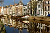 Sailing ship at the 'Lage der Aa' in the city of Groningen